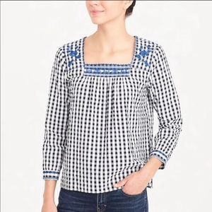 J.Crew Gingham Embroidered Peasant Top Sz M